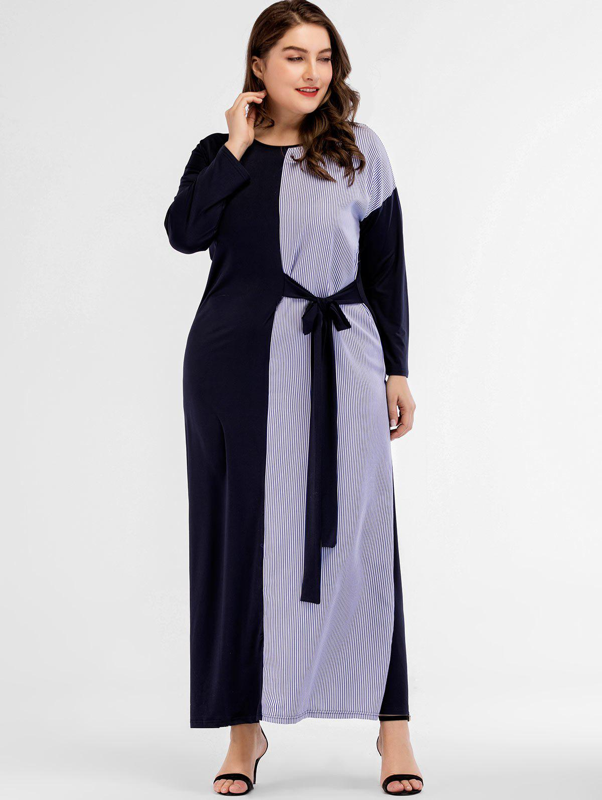 Buy Vertical Stripe Plus Size Long Sleeve Dress