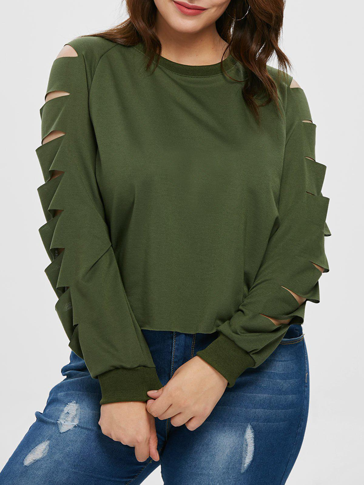 Buy Ladder Cut Out Sleeve Plus Size T-shirt