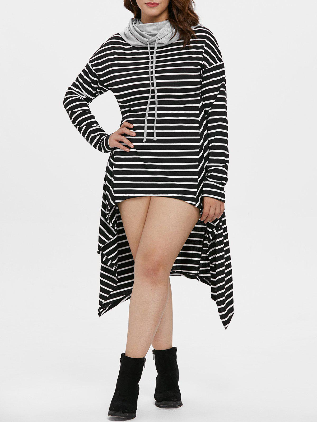 Affordable Drawstring Plus Size Striped High Low Dress