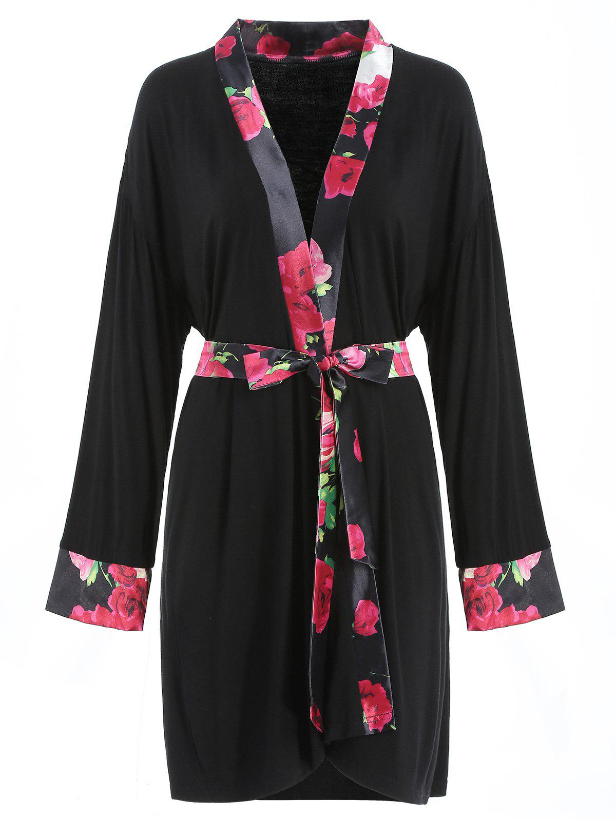 Sale Floral Print Belted Sleeping Robe