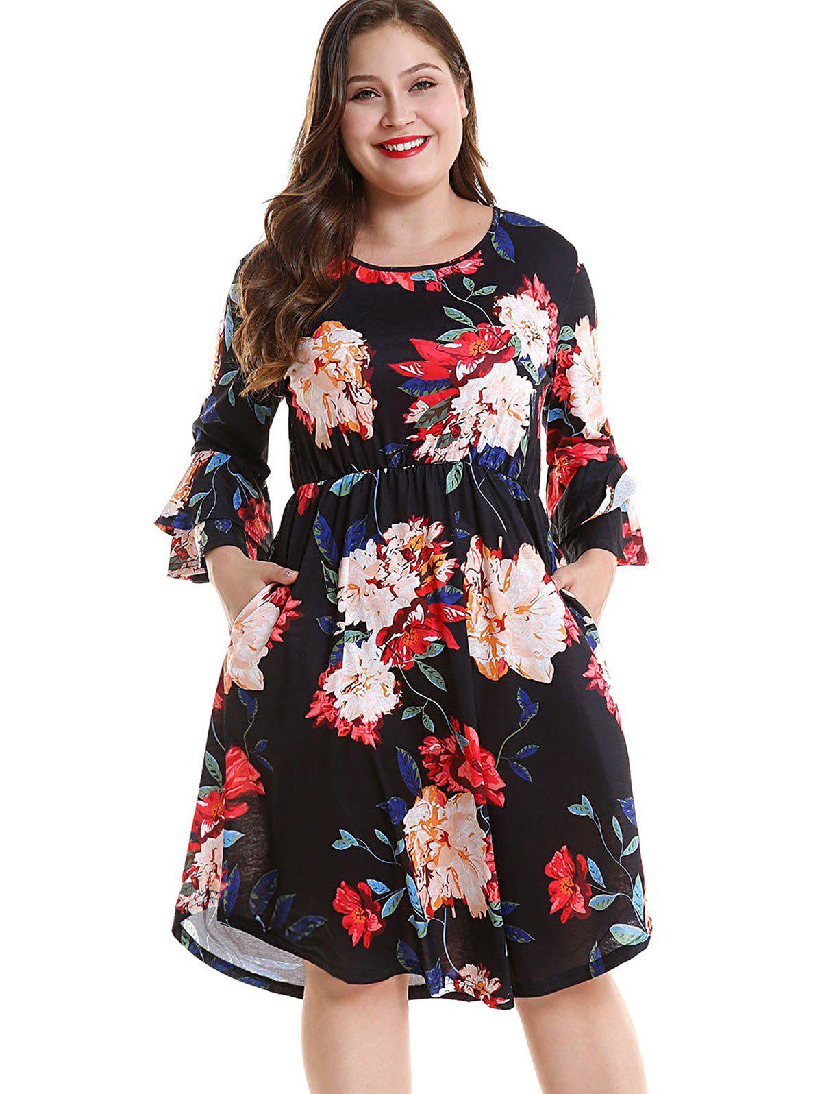 Cheap Plus Size Floral Layered Sleeve Dress