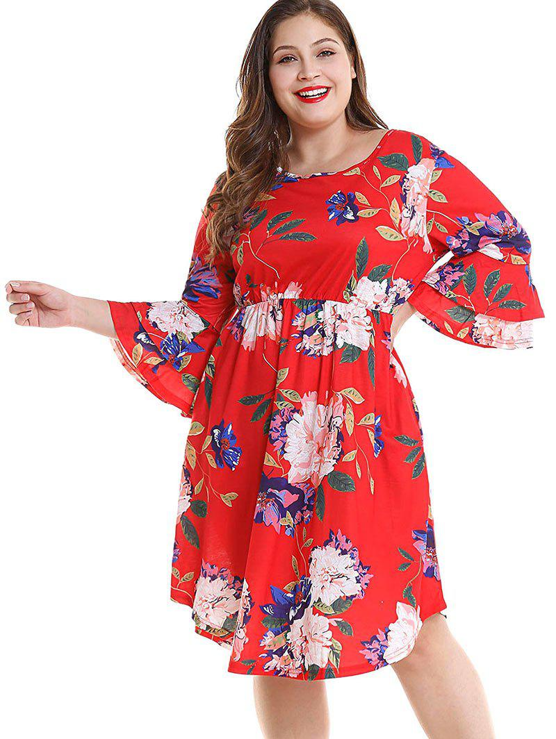 Sale Plus Size Floral Layered Sleeve Dress