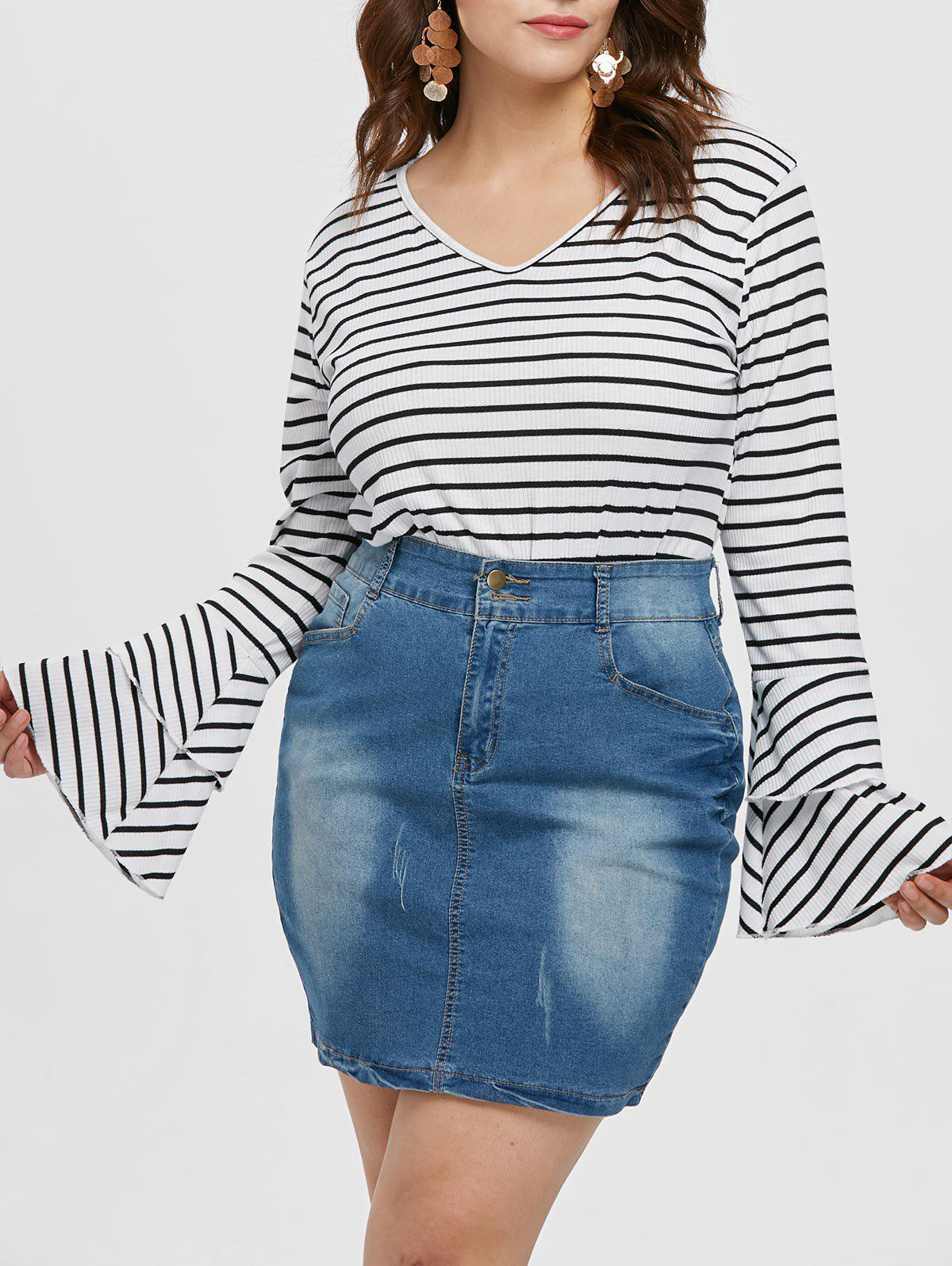 New Plus Size Flare Sleeve Striped Bodysuit