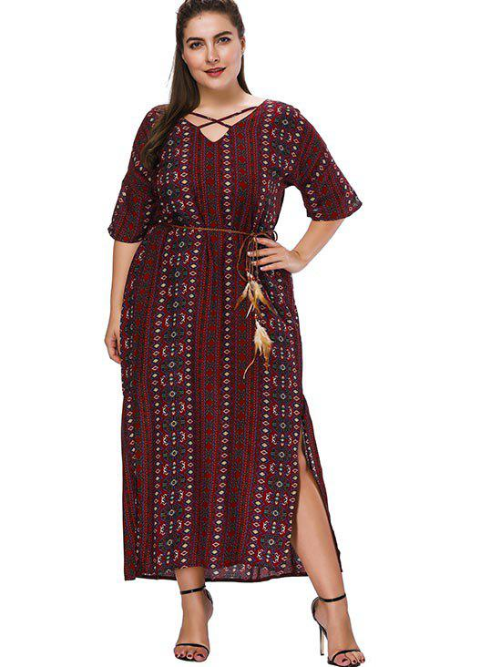 Outfit Plus Size Printed Slit Long Dress