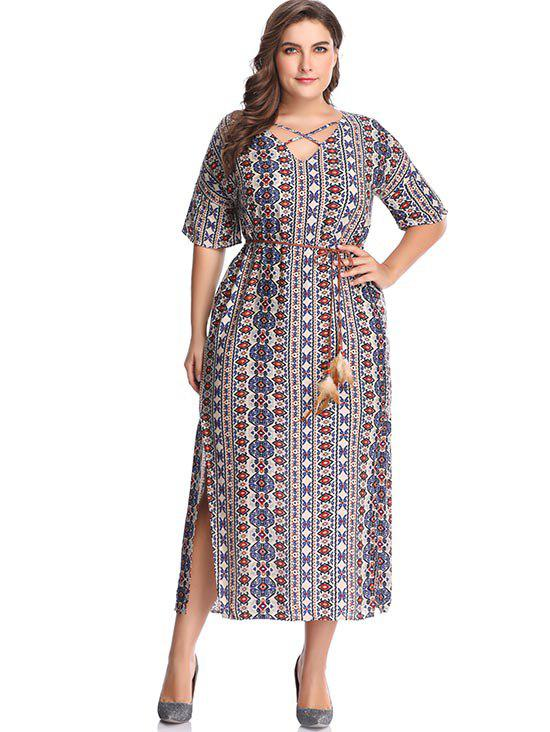 New Plus Size Printed Slit Long Dress