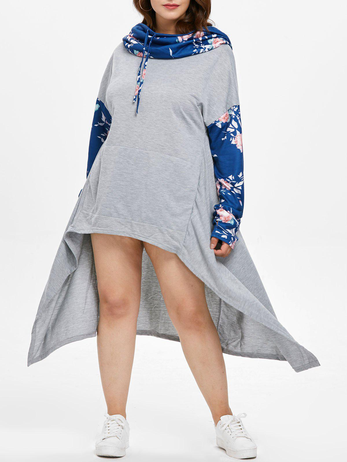 Shop Floral Print Sleeve Plus Size Drawstring High Low Dress