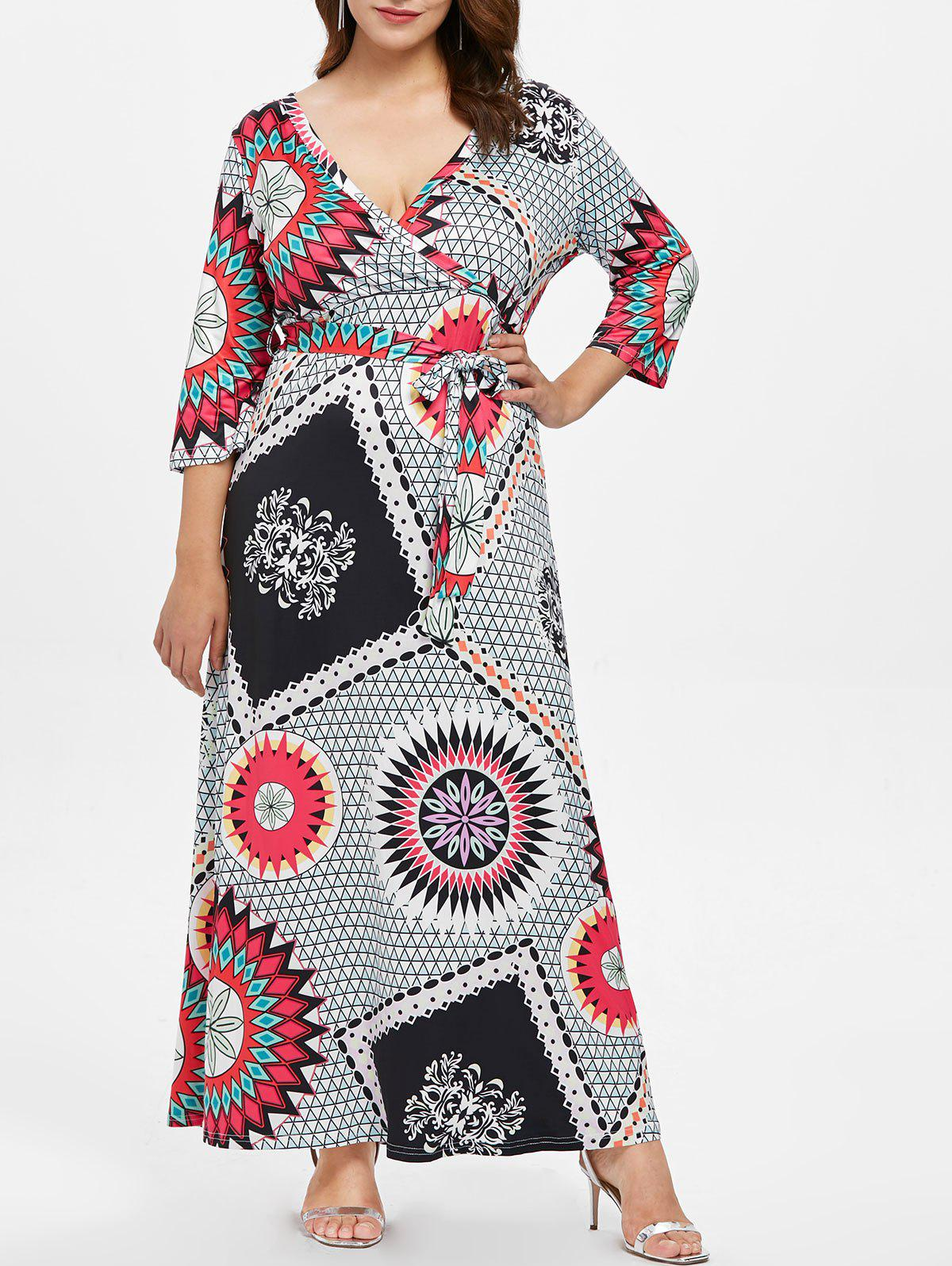 Unique Plus Size Print Maxi Dress with Belt