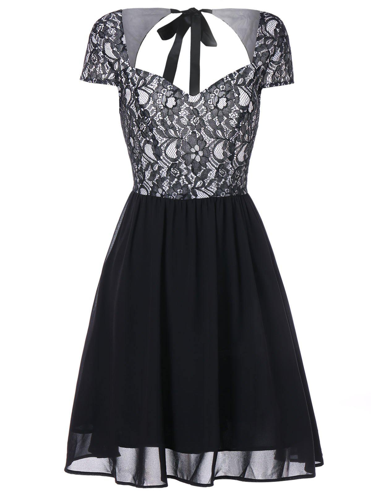 Affordable Lace Insert Open Back Flare Dress