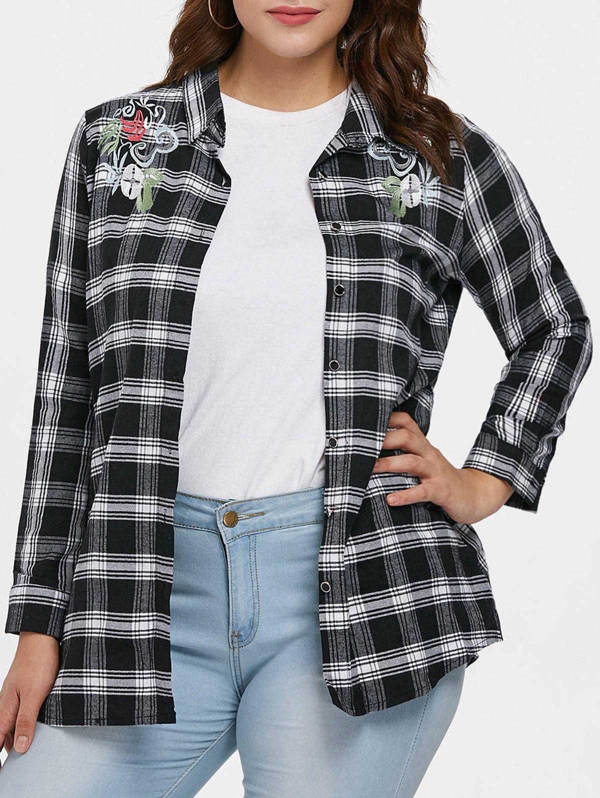 Shop Plus Size Embroidered Plaid Shirt