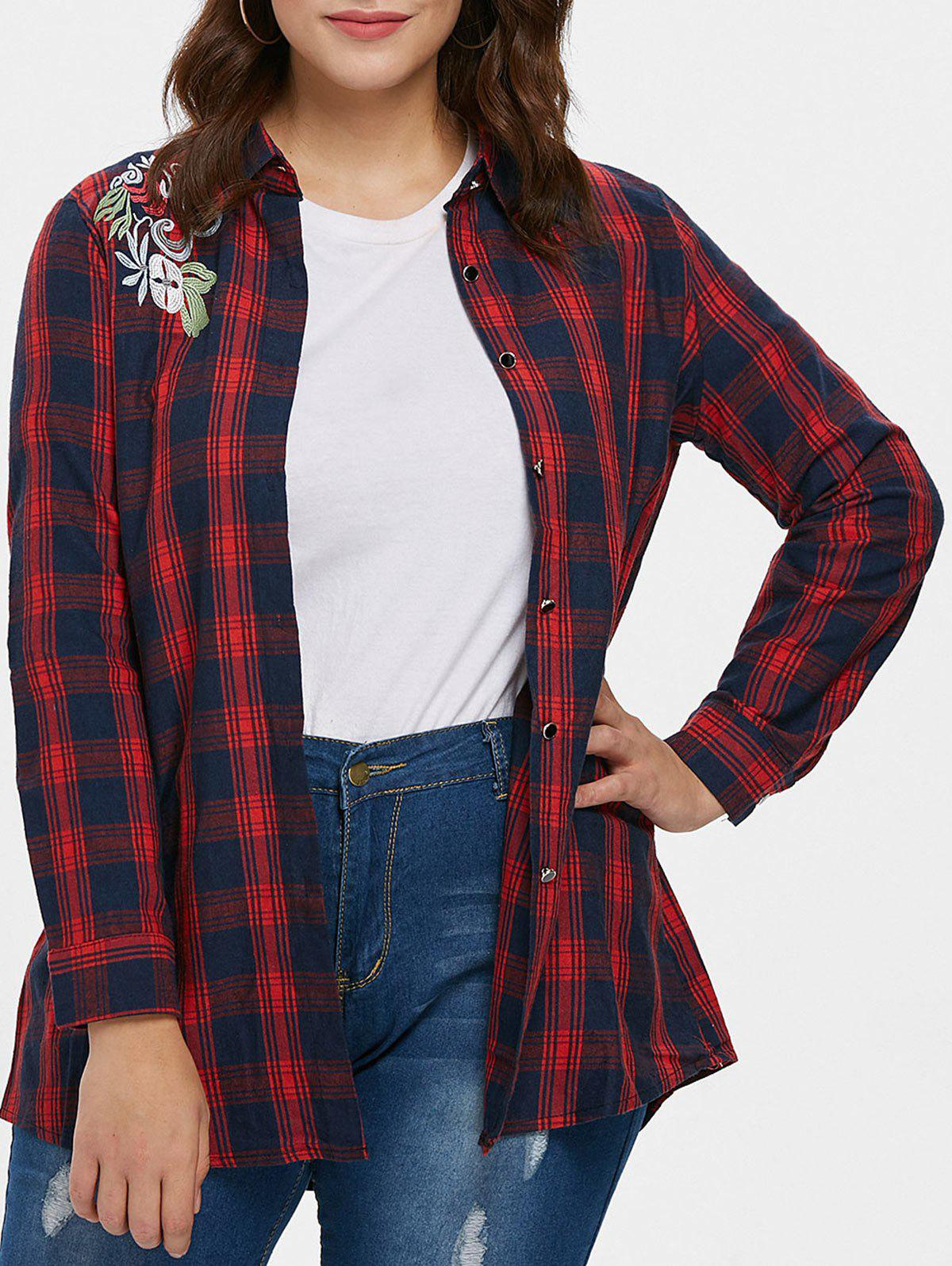 2019 Plus Size Embroidered Plaid Shirt Rosegalcom
