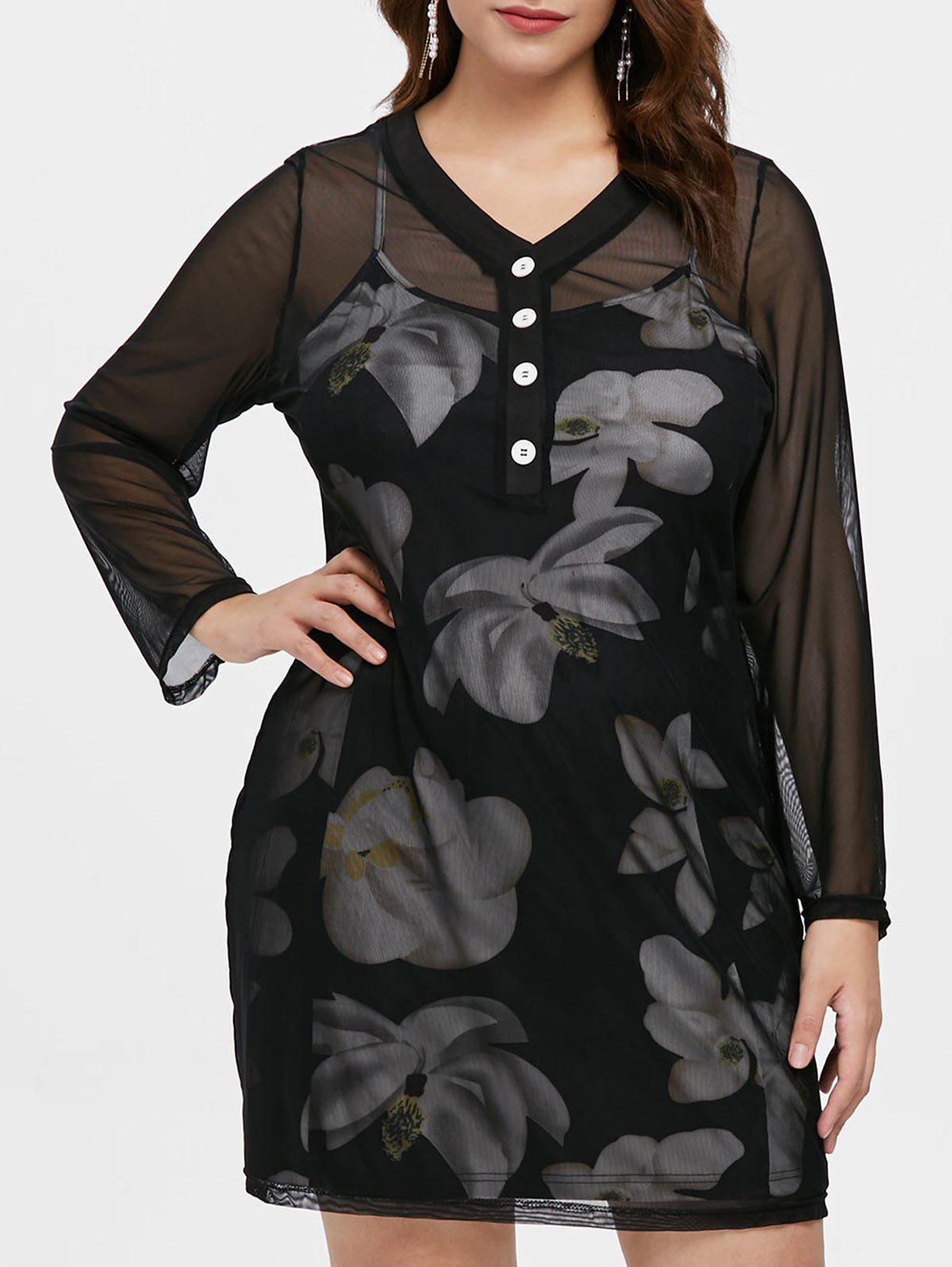 Outfits Plus Size Sheer Dress with Floral Cami Dress Set