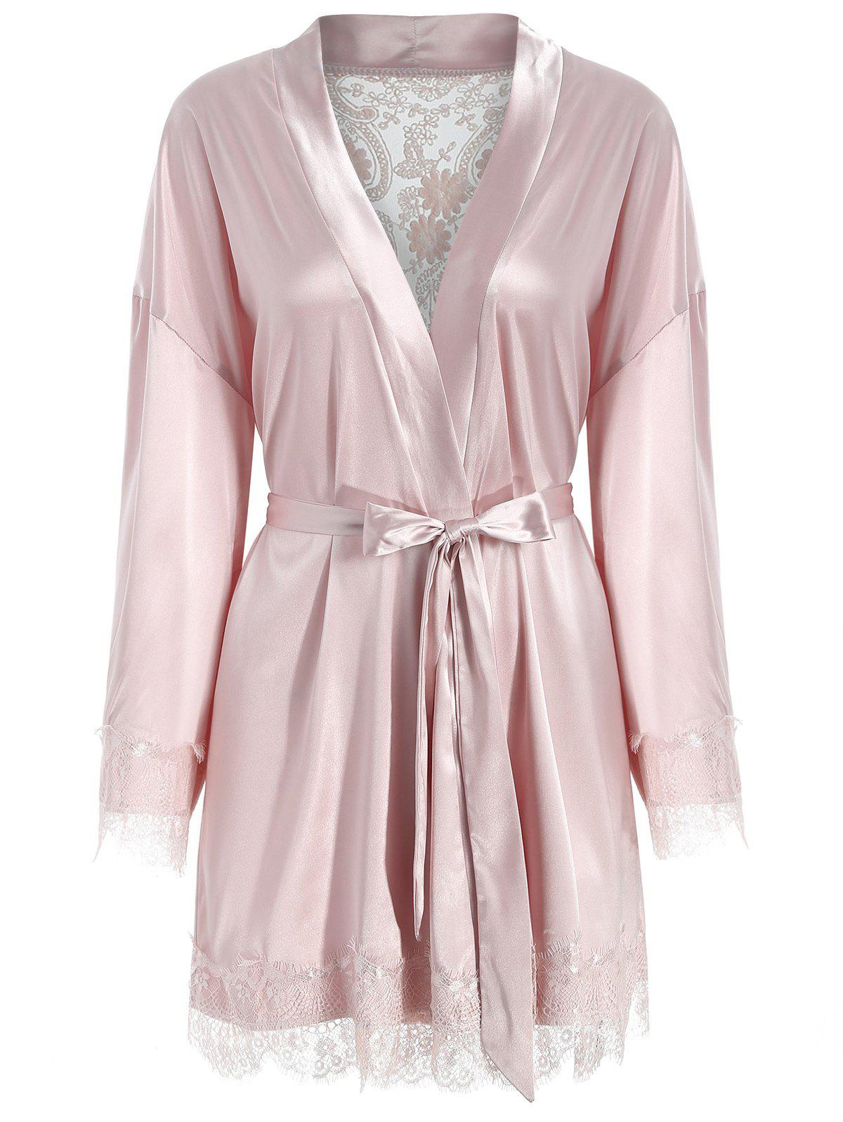 Trendy Belted Lace Panel Satin Sleeping Robe