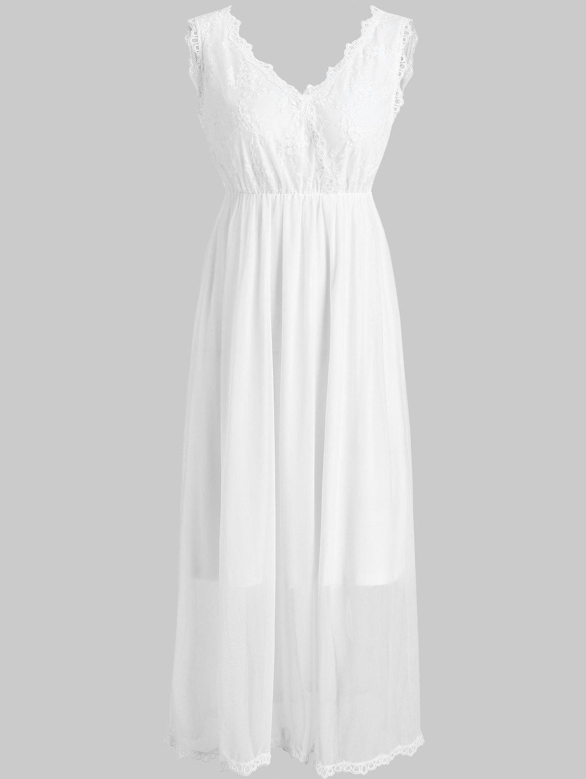Buy Embroidered Lace Trim Sleeping Dress