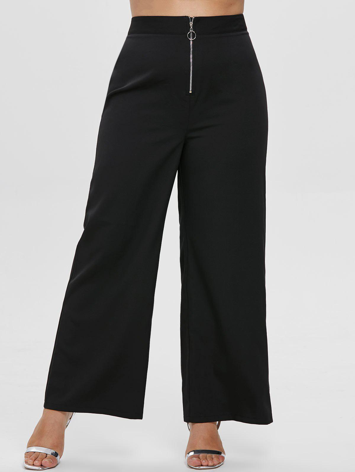 Store Plus Size Front Zip Wide Leg Pants