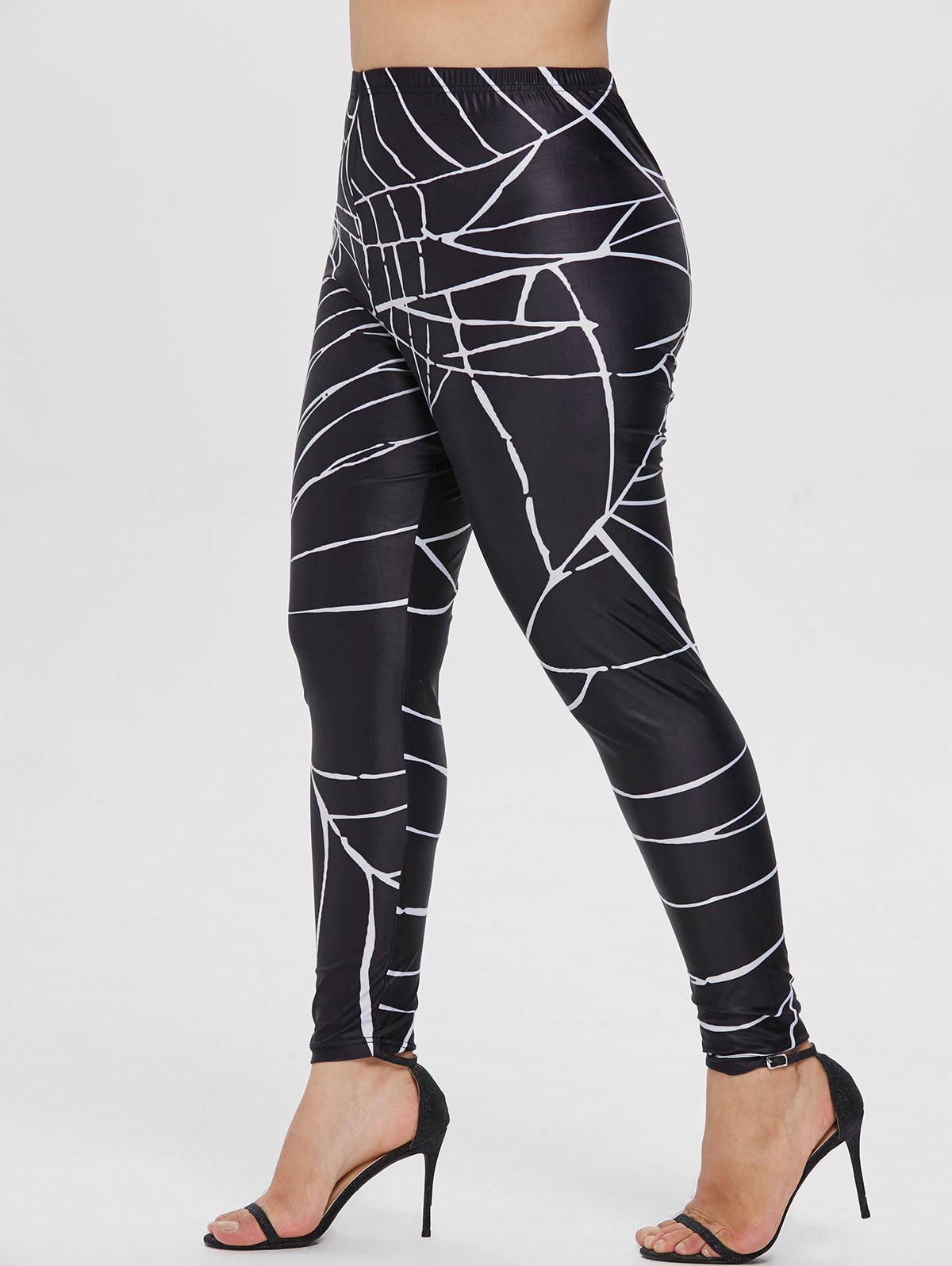 Shop Elastic Waist Plus Size Spider Web Leggings