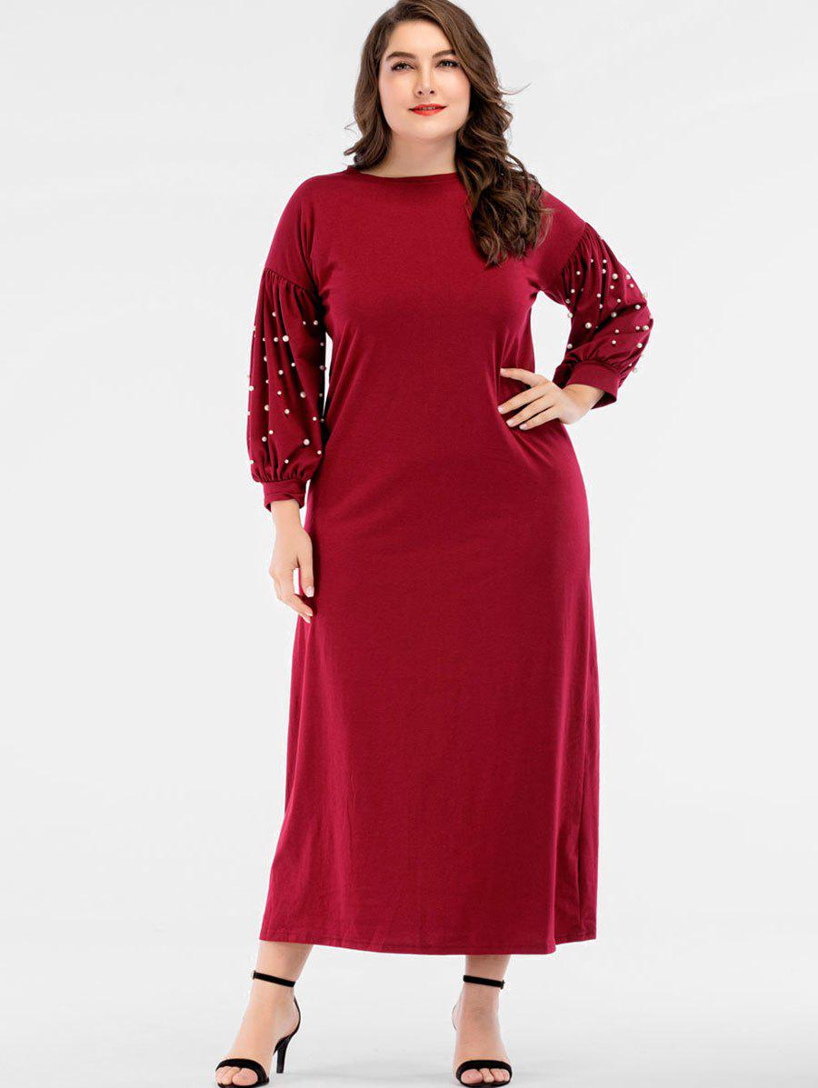 Affordable Plus Size Faux Pearls Puff Sleeve Maxi Dress