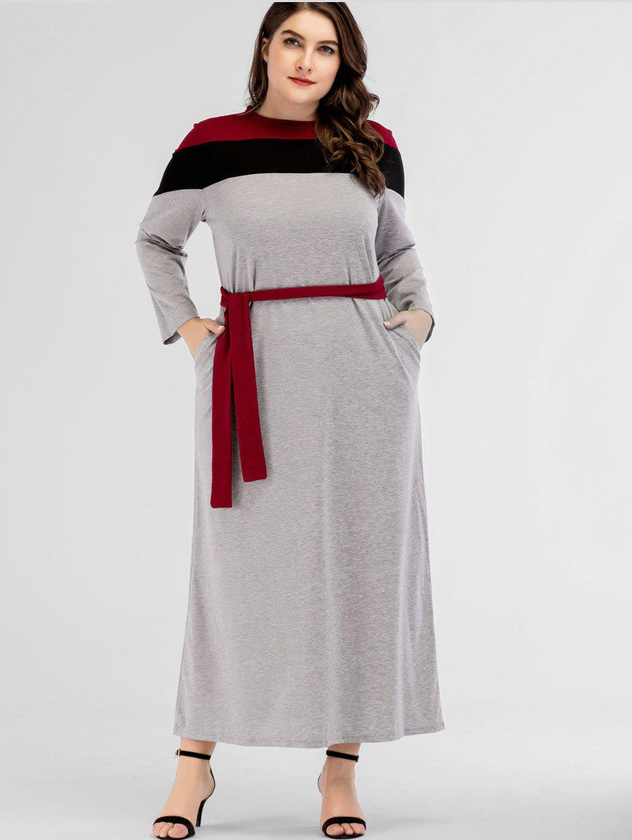 Latest Plus Size Stripe Trim Belted Maxi Dress