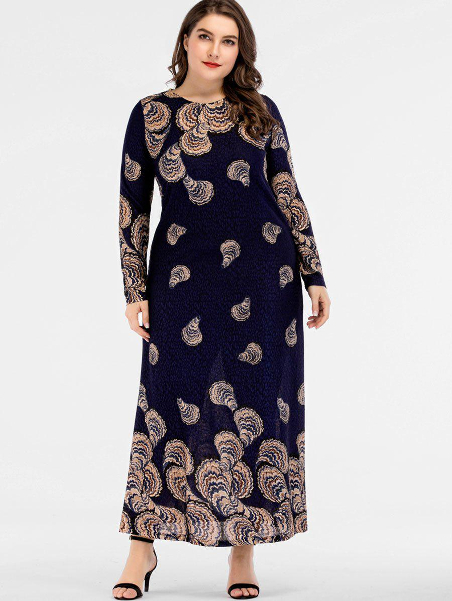 Outfits Plus Size Long Sleeve Maxi Print Dress