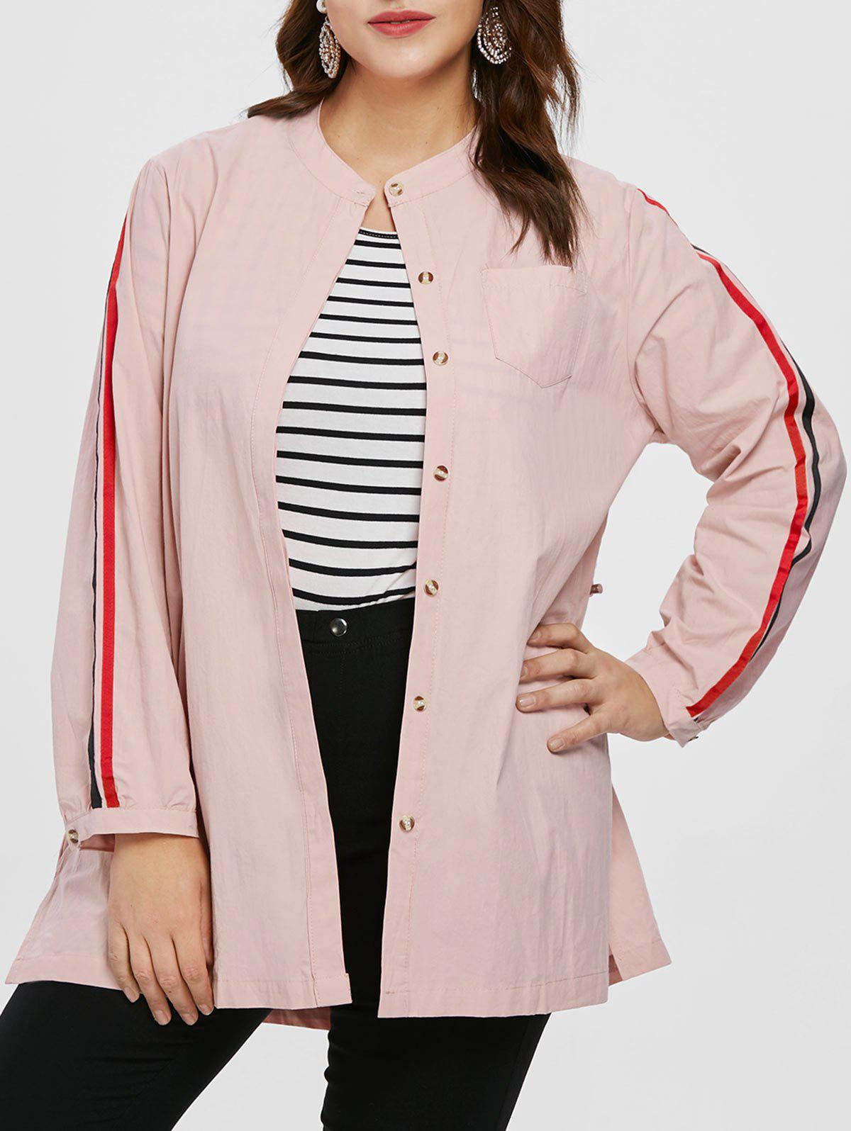 Buy Plus Size Drawstring Waist Tunic Coat