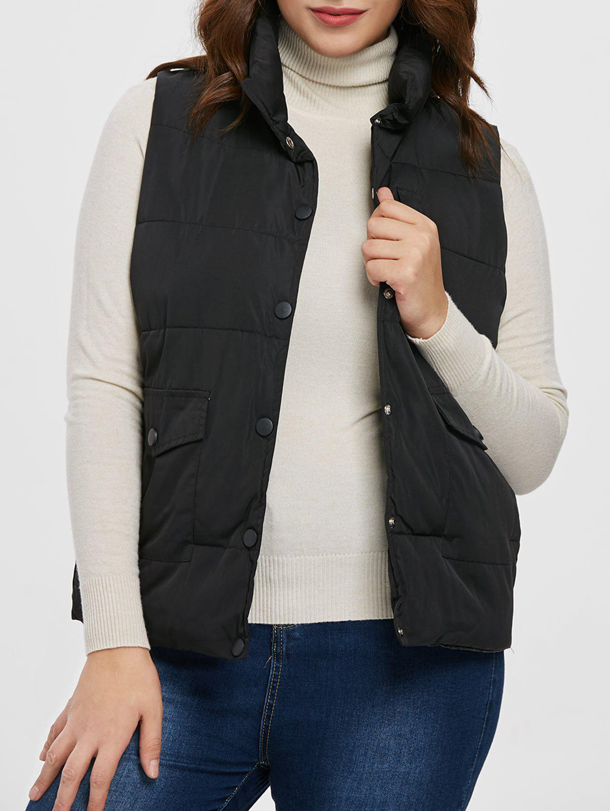 Discount Plus Size Pockets Down Vest