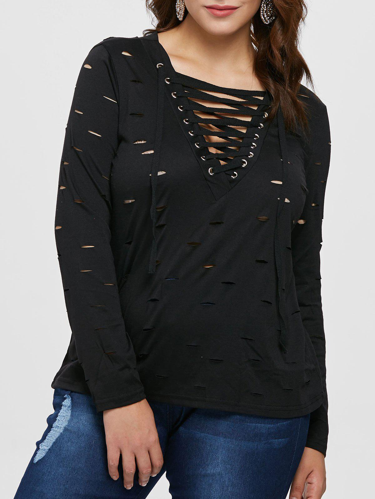 Fancy Ripped Plus Size Lace Up T-shirt