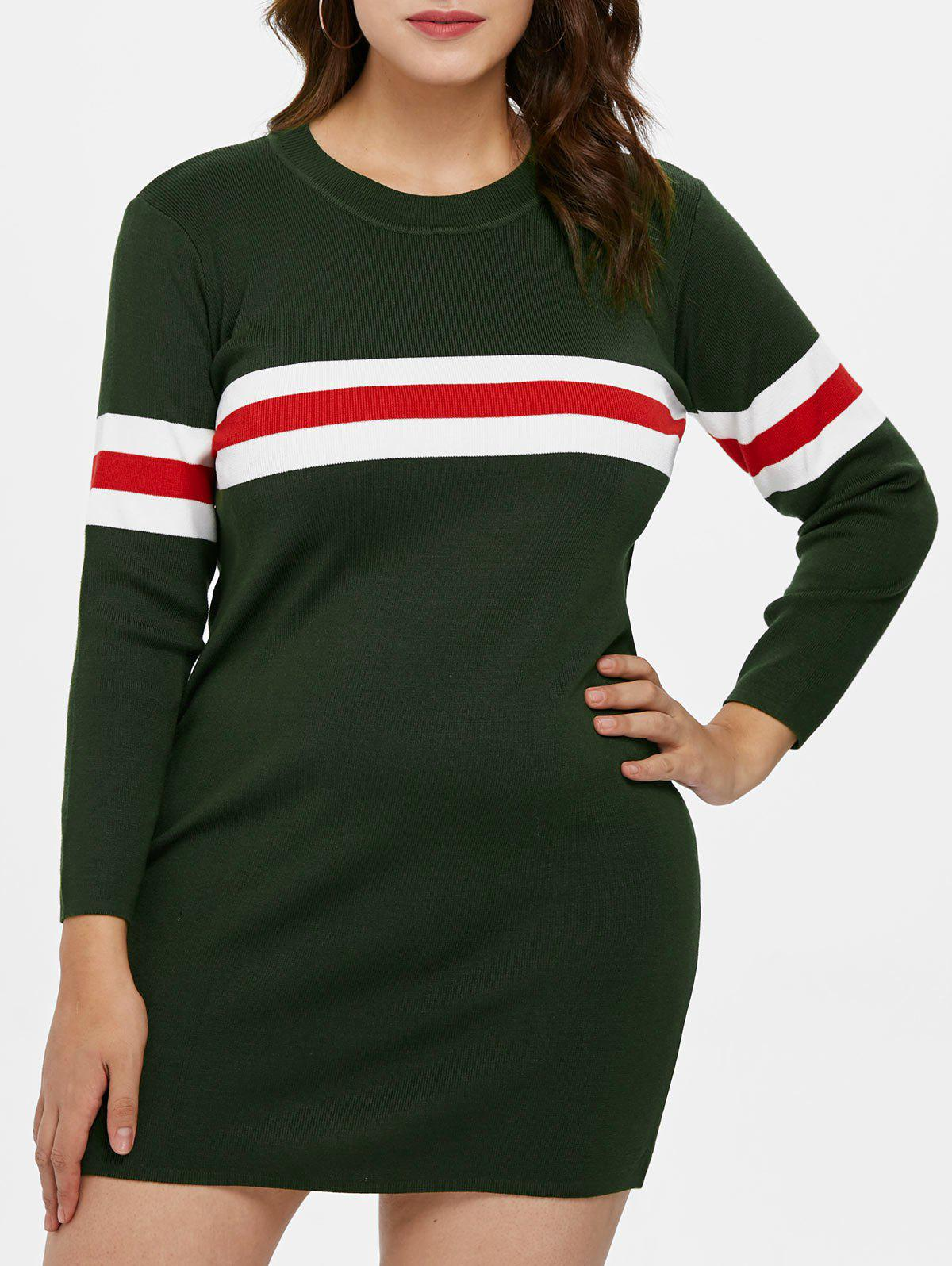 Discount Plus Size Striped Detail Sweater Dress