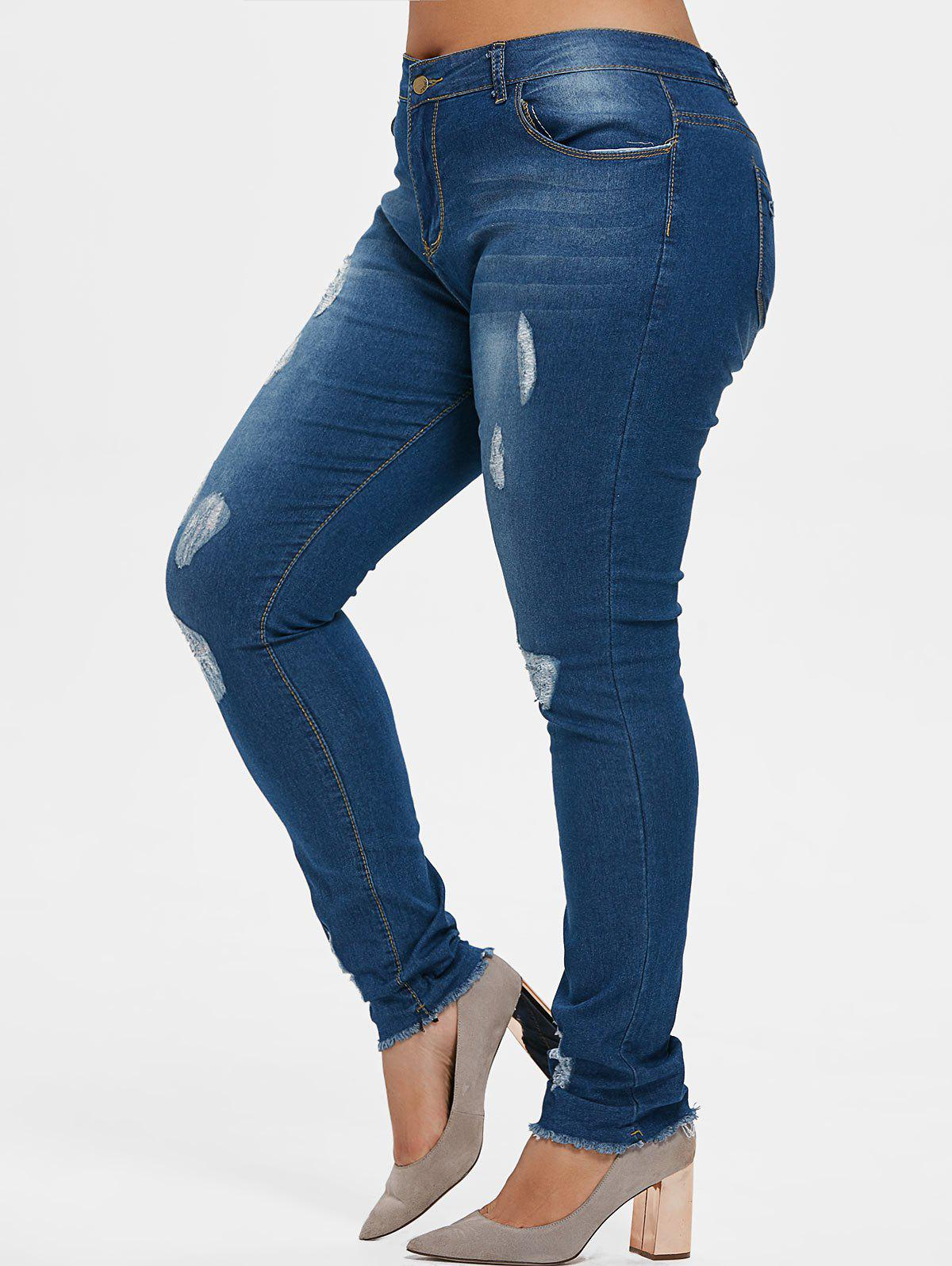 Unique Plus Size Ripped Frayed Hem Jeans