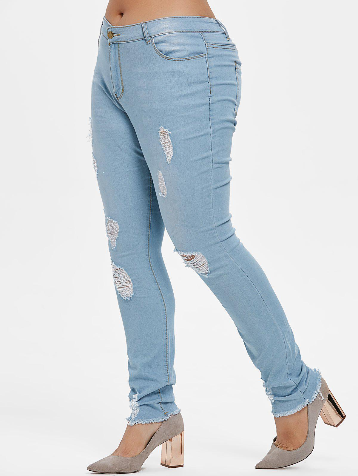 Trendy Plus Size Ripped Frayed Hem Jeans