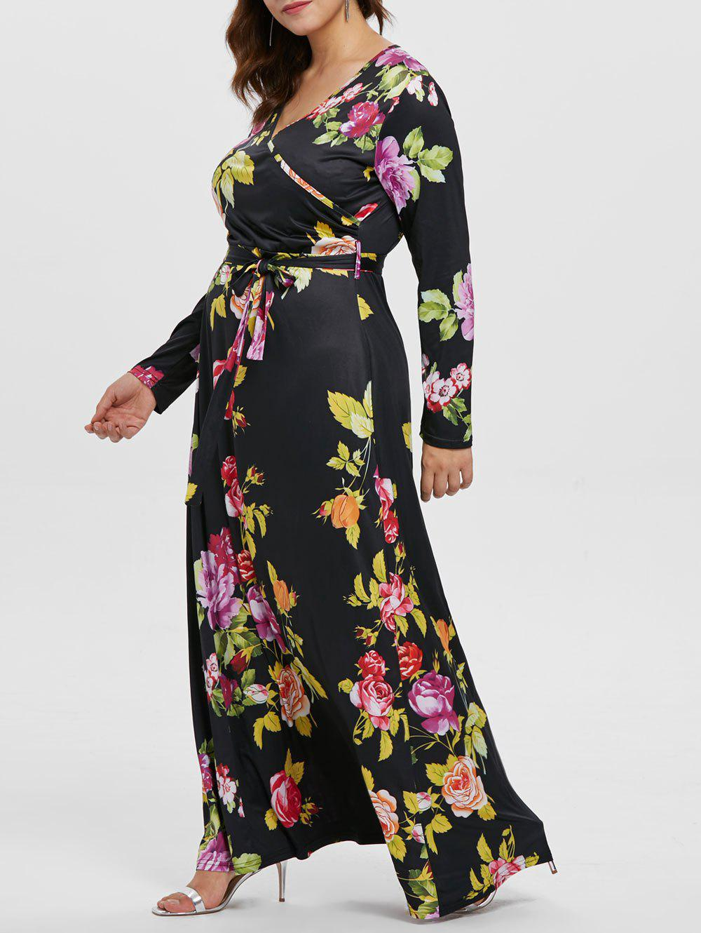 Fashion Plus Size Print Maxi Dress with Belt