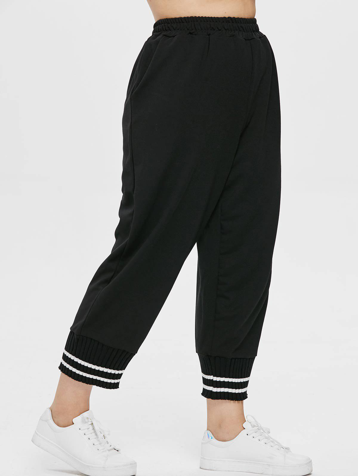 New Plus Size Striped Hem Pants