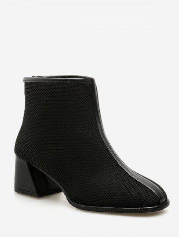 Chunky Heel Mesh Ankle Boots