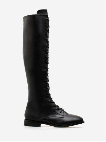 PU Leather Flat Knee High Boots