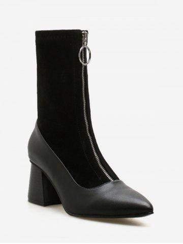 O-ring Zip Block Heel Pointed Toe Mid Calf Boots