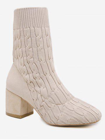 Plain Chunky Heel Cable Knit Sock Boots