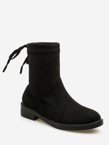 Tie Back Suede Ankle Boots