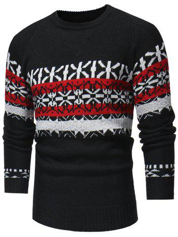 Jacquard Weave Pullover Casual Sweater - BLACK - XS