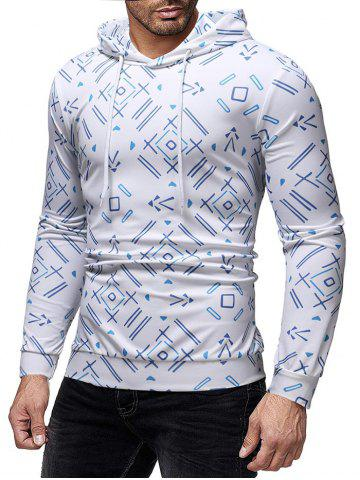 Allover Geometric Printed Casual Hoodie