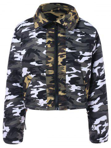 Camouflage Pattern Cropped Zipper Jacket