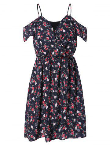 Cold Shoulder Tiny Floral Faux Wrap Dress