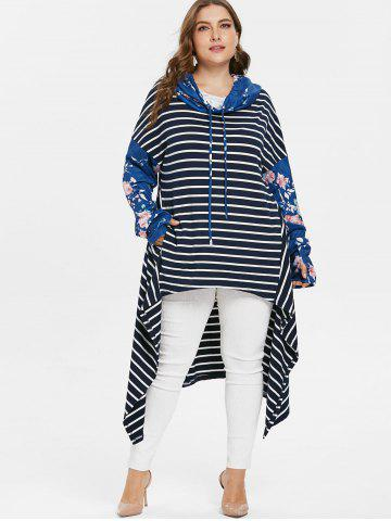 Floral Sleeve Plus Size Striped Asymmetrical Hoodie