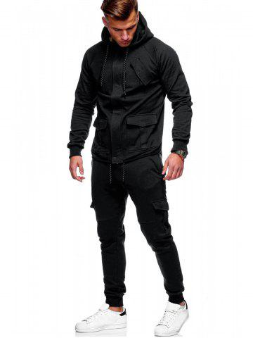 Solid Color Drawstring Pockets Hoodie Suit