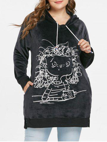 Sweat à Capuche Graphique de Grande Taille en Velours - BLACK - L