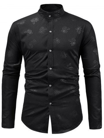 Stand Collar Floral Print Casual Shirt