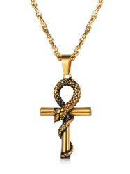 Stainless Steel Snake Twisted on Cross Pendant Chain Necklace -