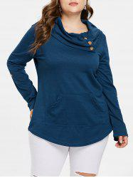 Kangaroo Pocket Plus Size Cowl Neck Sweatshirt -