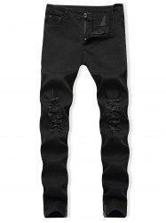 Destroyed Zip Hem Tapered Jeans -