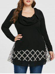 Plus Size Turtleneck Contrast Crochet Ribbed Knitwear -
