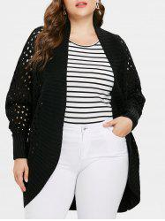 Collarless Plus Size Cut Out Cardigan -