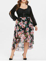 Plus Size Floral High Low Maxi Chiffon Dress -