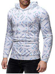 Allover Geometric Printed Casual Hoodie -